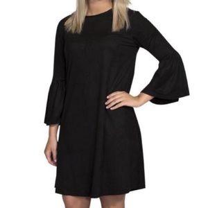 SIMPLY SOUTHERN BLACK VELVET BELL SLEEVE DRESS